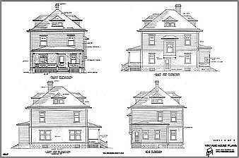 elevations of a queen anne house - Vintage Farmhouse Plans